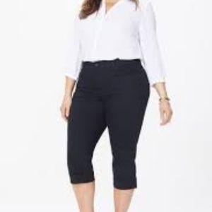 NWT Nydj Black Crop Capri Jeans lace up hems 18W